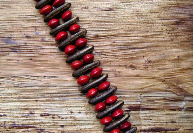 Bracelet en graines de flamboyant et graines l'église