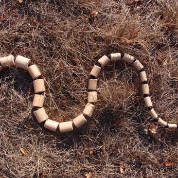 Serpent en bois de sureau et graines