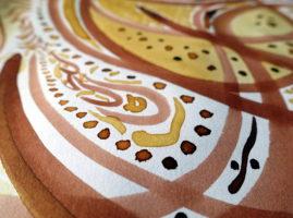 Détail d'un dessin aux encres de pisolithe et polypore du teinturier