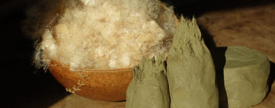 Argile dégraissée aux fibres d'aigrettes de massette