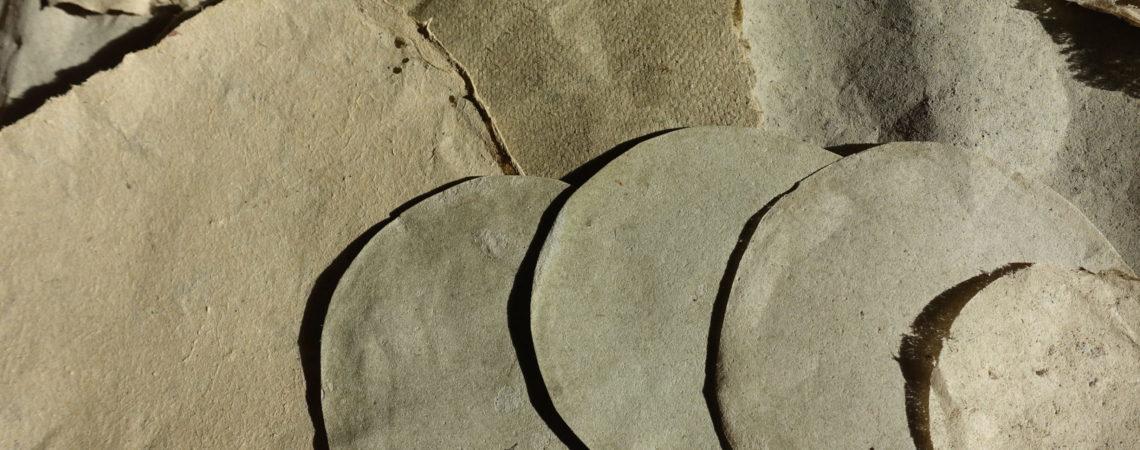 Échantillons de feuilles de papiers de différents grammage réalisés avec des algues de la Drôme