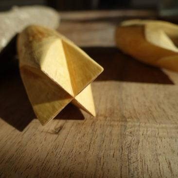 Fendoirs de vannerie à 3 et 4 pans réalisés en bois de fusain