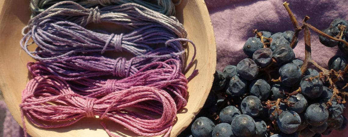 Gamme de couleurs sur fils de chanvre teint aux baies de raisin