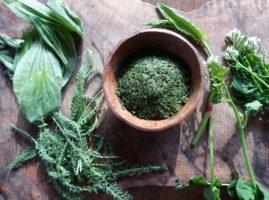 pesto-d'herbes-sauvages-dans-une-coupelle-en-terre-cuite