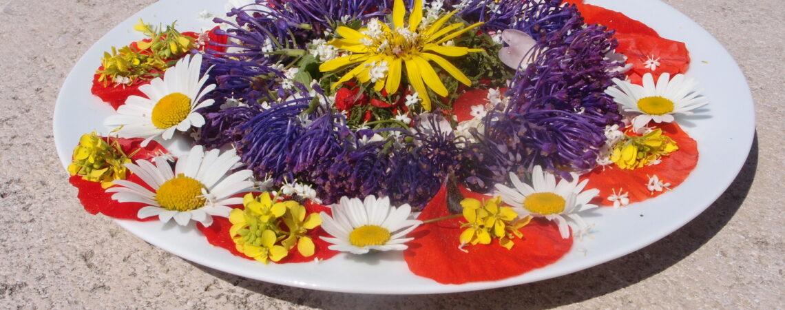 Assiette de salade de fleurs sauvages