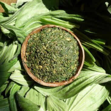Pesto de feuilles de plantain dans une coupelle en terre cuite
