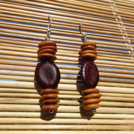 Boucles d'oreille en graines de bois noir et Entada polystachya